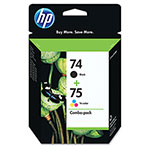 HP 74 Black and Cyan/Magenta/Yellow Ink Cartridge, Model CC659FN, Page Yield