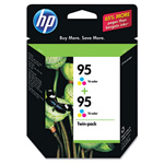 HP 95 Cyan/Magenta/Yellow Ink Cartridge, Model CD886FN, Page Yield 2x330