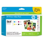 HP Hp564 Series Ink CartridValue Pack With 150 4 x 6 Sheets Glossy Photo Paper