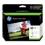 HP 60 Cyan/Magenta/Yellow Ink Cartridge, Model CG845AN, Page Yield 165