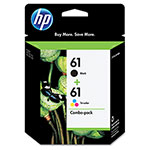 HP 61 Black and Cyan/Magenta/Yellow Ink Cartridge, Model CR259FN, Page Yield