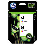 HP CZ074FN140 (61) Ink, Tri-Color, 165 Page-Yield, 2/Pk