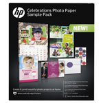 HP Celebration Photo Paper Sample Pack, Assorted Sizes, 11.5 mil, 12 Sheets/Pack