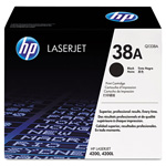 HP 38A Black Toner Cartridge, Model Q1338AG, Page Yield 12000