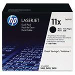 HP 11X Black Toner Cartridge, Model Q6511XD, Page Yield 2x12,000