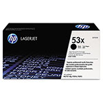 HP 53X Black Toner Cartridge, Model Q7553X, Page Yield 7000