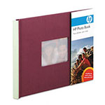 HP Expandable Photo Book, 12 8-1/2 x 11 Pages, Plum/Sage Cloth Cover With Inset