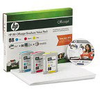 HP Q8933AN Combo Pack, 88 Ink Cartridge, 50 Sheets Brochure Paper