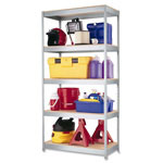 "Hirsh Steel Shelving Unit, 36""x18""x72"", Silver Metal"