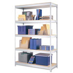 "Hirsh Open Shelving Unit, 48"" x 18"", 5 Shelves, Silver"