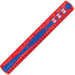 "Helix Kidy Grip Ruler, 12"", Red/Blue"
