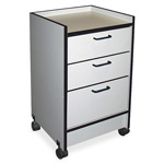 Hausman Gray Oak 3-Drawer Mobile Cart with 3 Drawers