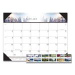 House Of Doolittle One Color Photo Monthly Desk Pad Calendar, 22 x 17, Green, Blue, Brown