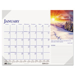 "House Of Doolittle Monthly Desk Pad Calendar, Nonrefillable, 22"" x 17"", Full Color"