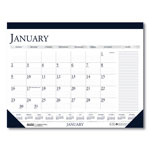 House Of Doolittle Two Color Monthly Desk Pad Calendar, Nonrefillable, 22 x 17, Deep Blue/Gray