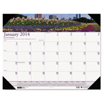 "House Of Doolittle Gardens Of The World Monthly Desk Pad Calendar, 18 1/2"" x 13"""