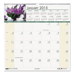 House Of Doolittle Floral Monthly Wall Calendar, 12 x 12, 2015