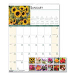 House Of Doolittle Floral Monthly Wall Calendar, 12 x 16 1/2, 2015