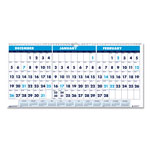 House Of Doolittle Recycled Three-Month Horizontal Wall Calendar, 17 x 8, 14-Month, 2016-2018