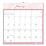 House Of Doolittle Breast Cancer Awareness Wall Calendar, Monthly, 12 x 12, White/Pink