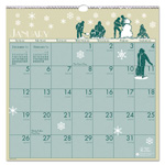 House Of Doolittle Illustrated 1 Month/Page Wall Calendar, 12 x 12, Blue, Green & Cream