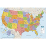 "House Of Doolittle Laminated United States Map, 38""x25"", Multi-Color"