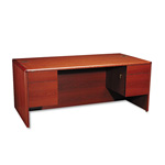 Hon 10700 Series Double Pedestal Desk, 3/4 Height Pedestals, Henna Cherry, 72 x 36