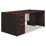 "Hon Attune Laminate Series Pedestal Desk with Frosted Doors, 72"" x 36"" x 29-1/2"", Mahogany"