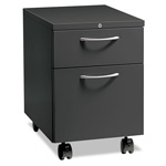 "Hon Flagship Mobile Box/File Pedestal, Arch Pull, 22-7/8"" Deep, Charcoal"
