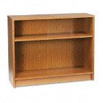 Hon Laminate Bookcase with Square Edge, 2 Shelf, 36w x 29 7/8h, Medium Oak