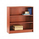 "Hon Laminate Bookcase with Square Edge, 3 Shelf, 36""x11 1/2""x36 1/8"", Henna Cherry"