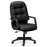 Hon Leather 2090 Pillow-Soft Series Executive High-Back Swivel/Tilt Chair, Black