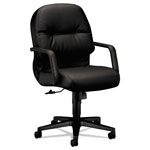 Hon Leather 2090 Pillow-Soft Series Managerial Mid-Back Swivel/Tilt Chair, Black
