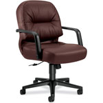 Hon Leather 2090 Pillow Soft Series Managerial Mid Back Swivel/Tilt Chair, Burgundy