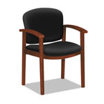 Hon 2111 Invitation Reception Series Wood Guest Chair, Cognac/Solid Black Fabric