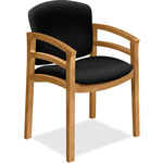 "Hon Wood Guest Chair, Dbl Rail Arms, 23-1/2"" x 22"" x 33-1/8"", Black"