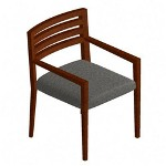 "Hon Guest Chair, Wood Back, Square Arm, 23""x25""x31 1/4, Gray"