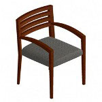 "Hon Guest Chair, Wood Back, Arch Arm, 23""x25""x31 1/4"", Gray"