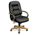 "Hon Pillow-Soft 2191 Leather Executive Chair, 26-1/4"" x 29-3/4"" x 46-1/2"", Black"