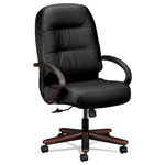 Hon 2190 Pillow Soft Exec High Back Swivel/Tilt Chair, Black Leather/Mahogany