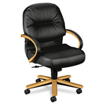 "Hon Pillow-Soft 2192 Leather Management Chair, 26-1/4"" x 28-3/4"" x 41-3/4"", Black"