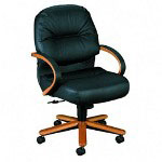 Hon 2190 Pillow Soft Manag Mid Back Swivel/Tilt Chair, Black Leather/Medium Oak