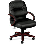 Hon 2190 Pillow Soft Manag Mid Back Swivel/Tilt Chair, Black Leather/Mahogany