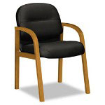 Hon 2190 Pillow-Soft Wood Series Guest Arm Chair, Medium Oak/Black Leather