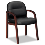 Hon 2190 Pillow-Soft Wood Series Guest Arm Chair, Mahogany/Black Leather