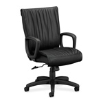 Hon Ampere Leather Executive Seating, Black Leather, Plastic Base