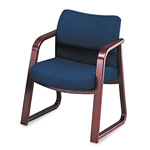 Hon 2900 Series Guest Arm Chair, Blue Olefin Fabric/Mahogany Finish Wood