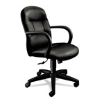 Hon Allure Managerial Mid Back Swivel/Tilt Chair, Black Leather
