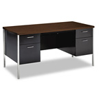 "Hon 34000 Series Double Pedestal Desk, 60"" x 30"" x 29 1/2"", Walnut"