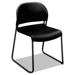 Hon GuestStacker Chair, Black with Black Finish Legs, 4/Carton